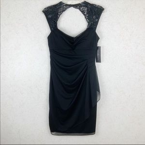 Scarlett black lace ruched cocktail dress